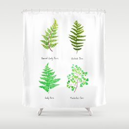 fern collection watercolor Shower Curtain