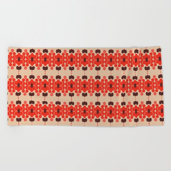 Red pattern rouge 6 Beach Towel