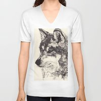 wolves V-neck T-shirts featuring Wolves by Maria Gabriela Arevalo Reggeti
