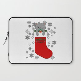 Cute Merry Christmas Cat Kitty Stocking Stuffer Laptop Sleeve