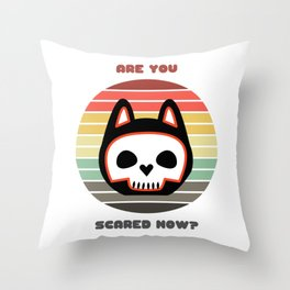 Sunset Cat / Are You Scared Now? Throw Pillow