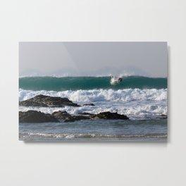 Surfers at Porthtowan Cornwall Metal Print