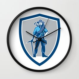 Coal Miner Pick Axe Frontpack Shield Retro Wall Clock