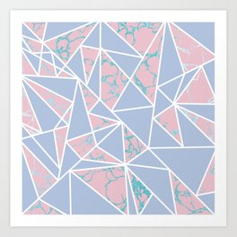 Geometric pastel blue coral abstract triangles marble Art Print