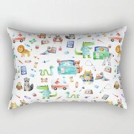 Cute Animal Hospital Watercolor Doctor Pattern Rectangular Pillow