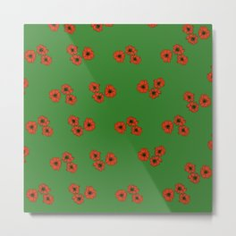 Poppy Flower pattern on green backgrounds Metal Print