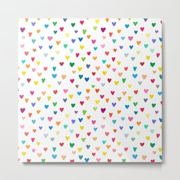 Colorful Hearts on White Pattern No. 1 Metal Print