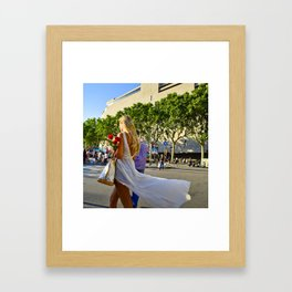 She is walking with roses Framed Art Print