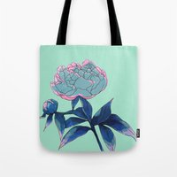 peony Tote Bags featuring Peony by Ludovic Jacqz