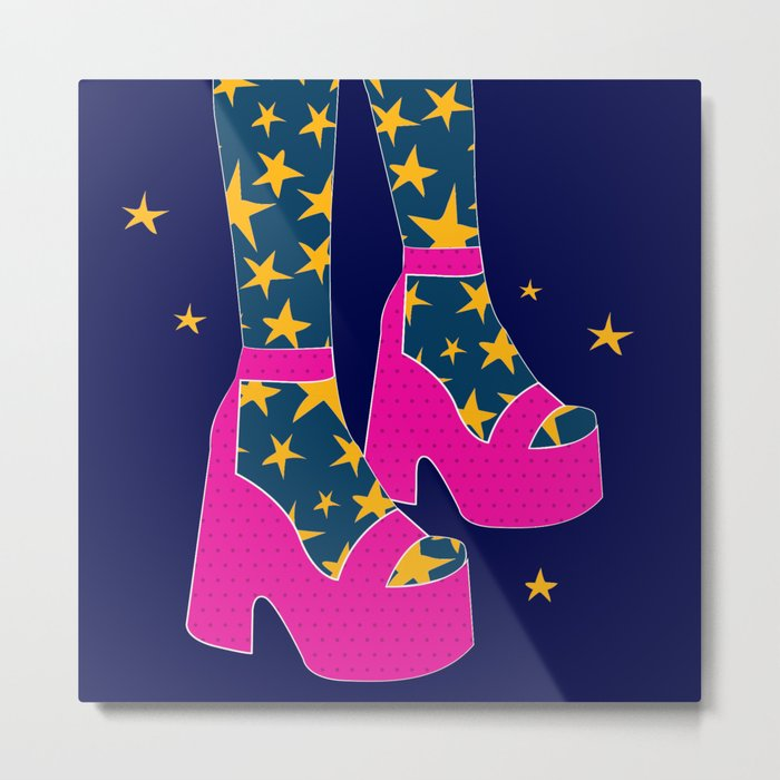 Boogie Wonderland // Pink, Fun, Shoes, Stars, Girly Metal Print