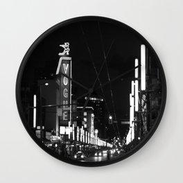 Granville St after dark 3 Wall Clock