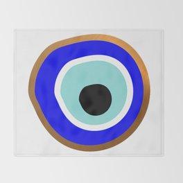 Grecian Gold evil eye in blue on white Throw Blanket