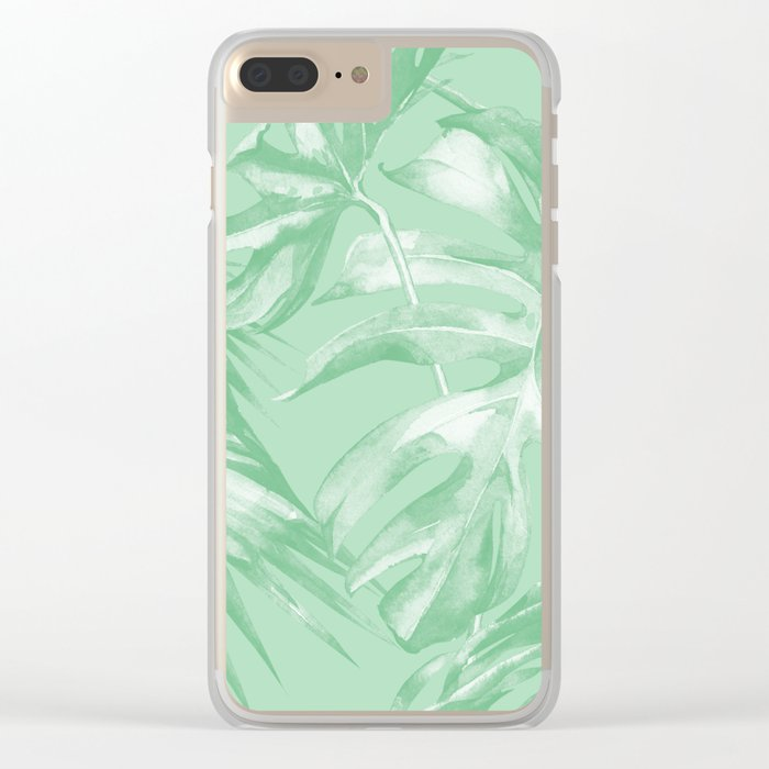 Tropics Mint Green Palm Leaves Clear iPhone Case