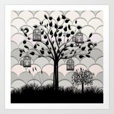Paper landscape B&W Art Print