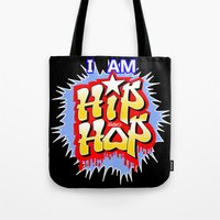 hip hop Tote Bags featuring HIP-HOP by DaeSyne Artworks