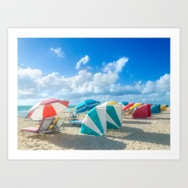 Miami beach cabanas and parasols Art Print