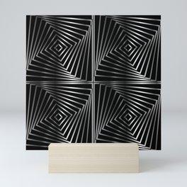 Rotating silver squares Mini Art Print