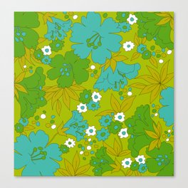 Green, Turquoise, and White Retro Flower Design Pattern Canvas Print