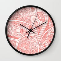 paisley Wall Clocks featuring Paisley by Laurie Mildenhall