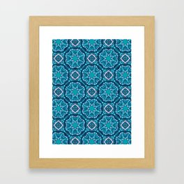 Moroccan Tile Pattern - Turquoise Framed Art Print