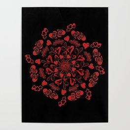 Red hearts mandala Poster