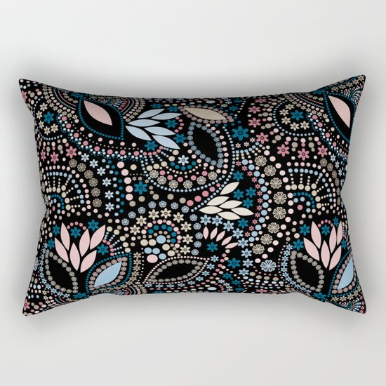 Abstract pattern with beads on black Rectangular Pillow