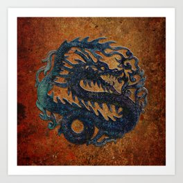 Blue Chinese Dragon on Stone Background Art Print