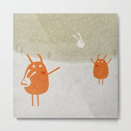 Pigs playing bunny game Metal Print
