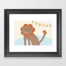 lion collage Framed Art Print