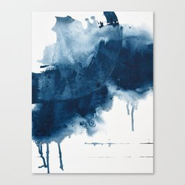 Where does the dance begin? A minimal abstract acrylic painting in blue and white by Alyssa Hamilton Canvas Print