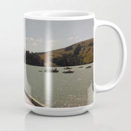 akaroa walkway into lake in french town in new zealand Coffee Mug