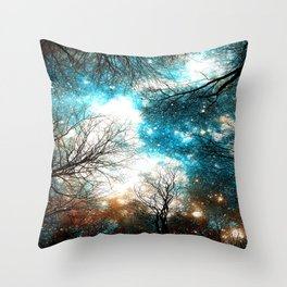 Black Trees Turquoise Brown Space Throw Pillow