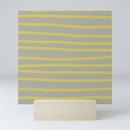 Simply Drawn Stripes in Mod Yellow Retro Gray Mini Art Print