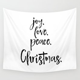 Joy.Love.Peace.Christmas. Typography Wall Tapestry