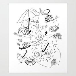 Snails in the Rain Art Print