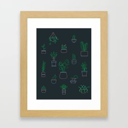 Neon Plants Framed Art Print