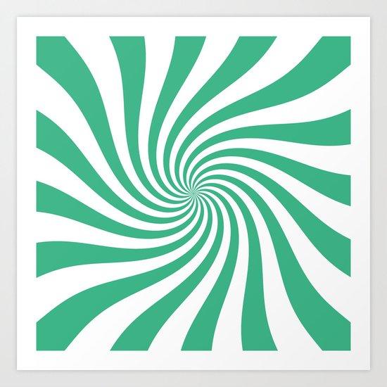 Swirl (Mint/White) Art Print