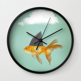 Goldfish with a Shark Fin (under a cloud) Wall Clock