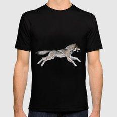 Wolf Running Black MEDIUM Mens Fitted Tee