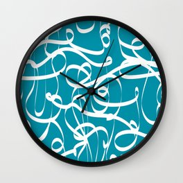 @NEW Modern Ribbon   Teal Wall Clock