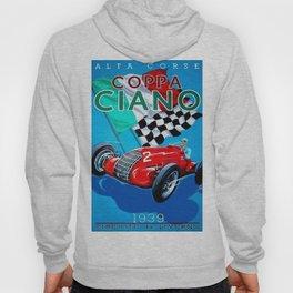 1939 Italian Grand Prix Motor Racing Coppa Ciano Alfa Corse Vintage Poster Hoody