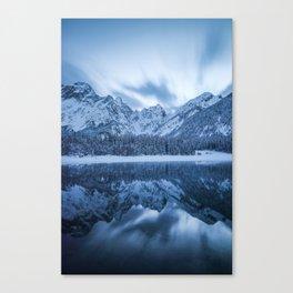 Majestic mountain Mangart reflection Fusine lake Italy Canvas Print