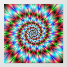 Spiral Rosette in Blue Green and Red Canvas Print