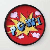 superheroes Wall Clocks featuring superheroes by mark ashkenazi