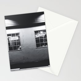 windows of the bar and restaurant in Los Angeles, USA in black and white Stationery Cards