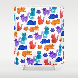 Fluffy Watercolor Cat Pattern Shower Curtain