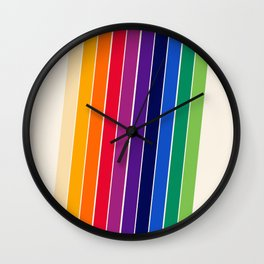 Awe Yeah - 70s style retro throwback 1970s rainbow colorful trendy graphic art Wall Clock