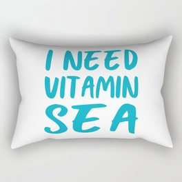 I Need Vitamin Sea - Blue and White Rectangular Pillow
