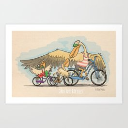 Dads and bicycles - square-ish Art Print
