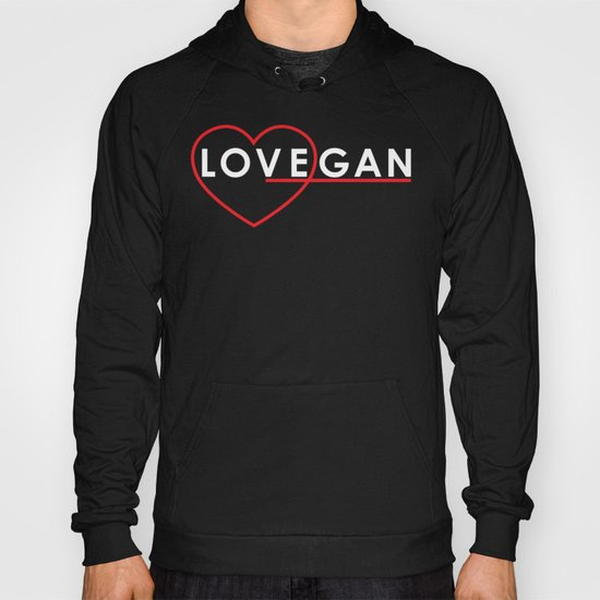 Lovegan (Love Vegan), on black Hoody